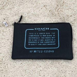 Coach Charcoal Gray Faux Leather Makeup Bag NWT